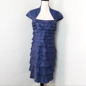 Adrianna Papell Blue Shutter Pleat Formal Dress 8